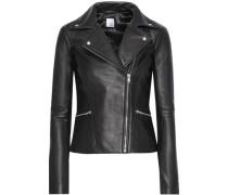 Lovisa Ribbed Knit-paneled Leather Biker Jacket Black