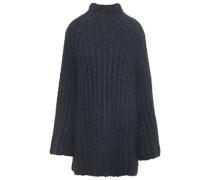 Ribbed Silk Turtleneck Mini Dress Black