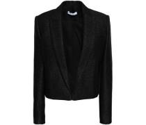 Cholanja Cropped Metallic Tweed Blazer Black