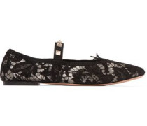 Studded Corded Lace Flats Black