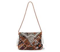 Milah Embellished Cotton Shoulder Bag Brown Size --