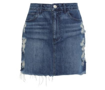 Celine Distressed Denim Mini Skirt Mid Denim  6
