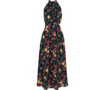 Floral-print Washed-silk Halterneck Maxi Dress Black