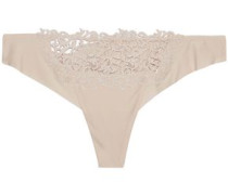 Stretch-jersey and guipure lace mid-rise thong