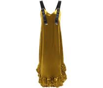 Florence Ruffle-trimmed Velvet Midi Dress Mustard Size 14