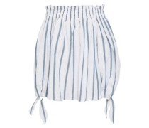 Off-the-shoulder Metallic Striped Cotton-blend Top White