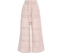 Broderie Anglaise Cotton And Silk-blend Wide-leg Pants Blush Size 0