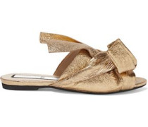 Woman Knotted Metallic Cracked-leather Slides Gold