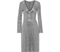 Sequined Chiffon Dress Silver