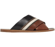 Woman Bead-embellished Color-block Leather Slides Brown