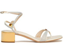 Crystal-embellished satin sandals