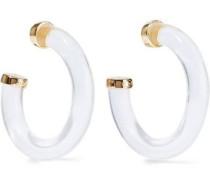 Gold-tone resin hoop earrings