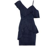 Floretta asymmetric ruffled suede mini dress