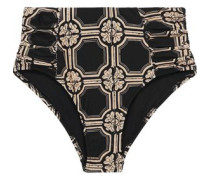 Ruched Printed High-rise Bikini Briefs Black
