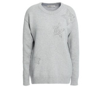 Crystal-embellished French Cotton-blend Terry Sweatshirt Light Gray