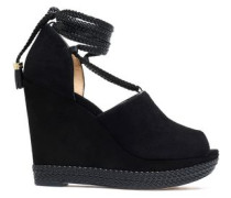Lace-up suede wedge espadrille sandals