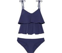 Imaan Ruffled Stretch-crepe Bikini Indigo Size 1
