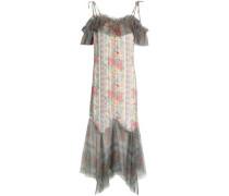 Cold-shoulder floral-print satin-jacquard and tulle dress