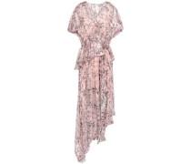 Jayma Asymmetric Floral-print Burnout Silk-blend Midi Dress Baby Pink