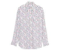 Floral-print silk shirt
