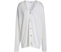 Cutout linen, cashmere and silk-blend cardigan