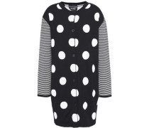 Polka-dot Jacquard-knit Wool Cardigan Black