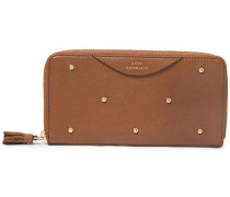 Woman Studded Textured-leather Continental Wallet Light Brown