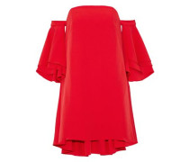 Double Flutter off-the-shoulder layered stretch-cady mini dress