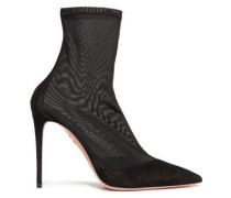 Hot Stuff Suede-paneled Stretch-mesh Sock Boots Black