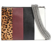 Calf Hair-paneled Color-block Leather Clutch Multicolor Size --