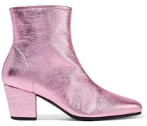 Beatnik Metallic Textured-leather Ankle Boots Pink