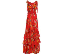 Tiered floral-print silk-chiffon gown