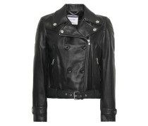 Textured-leather Biker Jacket Black