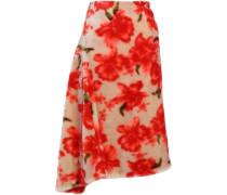 Woman Asymmetric Faux Fur Midi Skirt Beige