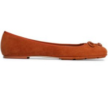 Bow-detailed suede ballet flats