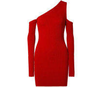 Cutout One-shoulder Ribbed-knit Mini Dress Red