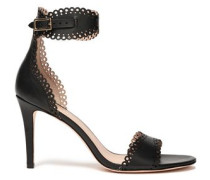 Laser-cut Leather Sandals Black