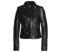Chain-embellished leather biker jacket