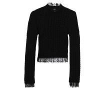 Point D'esprit-trimmed Open-knit Wool-blend Sweater Black