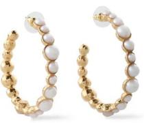 Gold-tone Faux Pearl Hoop Earrings White Size --
