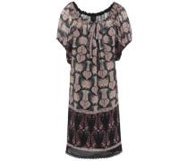 Lace-trimmed Printed Chiffon Mini Dress Black