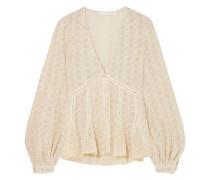Crocheted Cotton-blend Gauze Top Ecru
