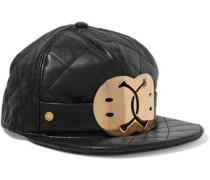 Embellished quilted leather cap