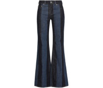 Striped Mid-rise Flared Jeans Dark Denim