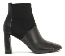 Tiffany Paneled Neoprene And Leather Ankle Boots Black