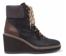 Leather-paneled nubuck wedge ankle boots