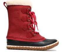 Woman Caribou Slim Faux Shearling-trimmed Rubber And Suede Snow Boots Burgundy