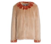 Two-tone Faux Fur Jacket Pastel Pink Size 12