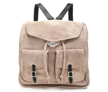 Leather-trimmed Suede Backpack Stone Size --