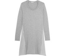 Satin-paneled stretch-jersey mini dress